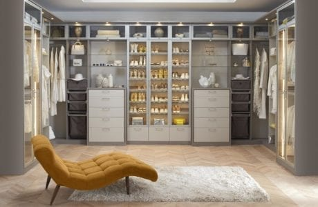 Light Grey Walk in Closet with Shelvin gCloset Rods Built in Lighting and White Accents