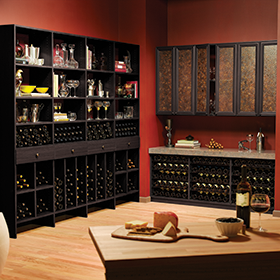 Black Wine Bar with Shelving Cubbies Wine Racks Marble Counter Top and Cabinets with Brown Decorative Inlay Doors
