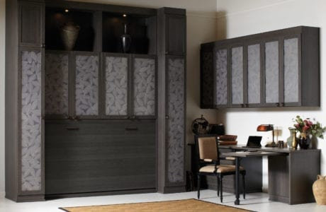 Simon Convertible Murphy Bed, tucked away, with Lago Milano Grey Finish