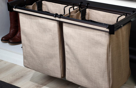 TAG hardware close up with laundry basket hamper in light brown color