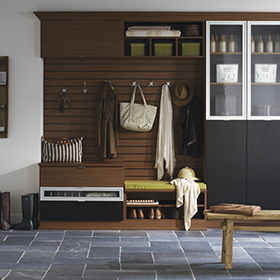 Dark Brown and Black Entrance Way Storage with Cubbies Cabinets and Coat Hangers