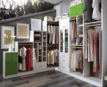 White Walk In Closet with Lime Green Accent Cabinets