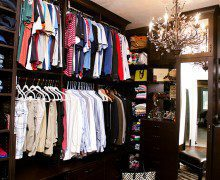 Walk In Closet Dark Brown Redesign with Cubbies Shelving Decorative Inlay Cabinets Body Length Mirror and Chandelier Lighting