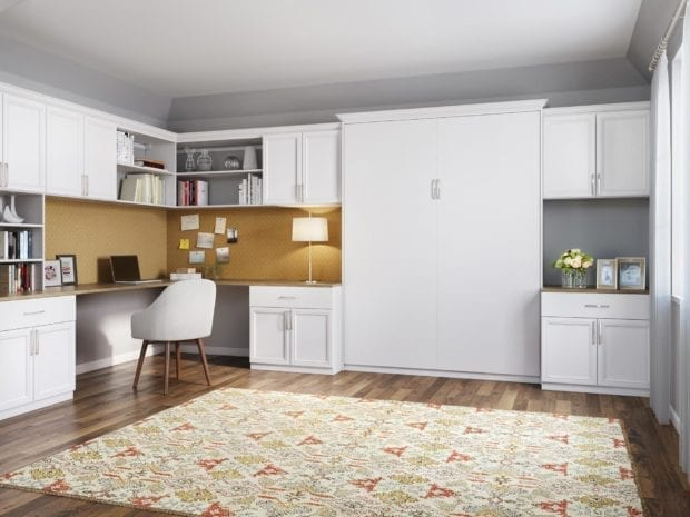 Office Space with White Shelving Cabinets Built in Desk and Murphy Bed