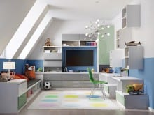 High Gloss Colorful Office With White Entertainment Center Shelving Cabinets Desk and Grey and Light Green Accents
