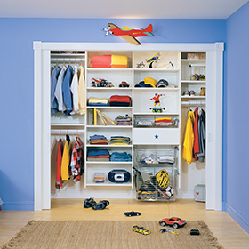 Children's Reach in Closet with White Shelving Metal Closet Rods and Slide Out Metal Baskets