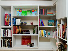 Close Up White Entertainment Center Shelving