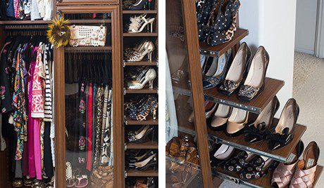 California Closets Client Stories Gallery Dark Brown Boutique Walk in Closet Close up Slide Out Shoe Racks