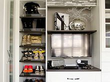White Closet Storage with Shelving Shoe Racks and Black Counter Top
