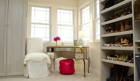 Mottled White Walk in Closet Joe Rack Wardrobe and Sland Alone Gold Accented Vanity Desk