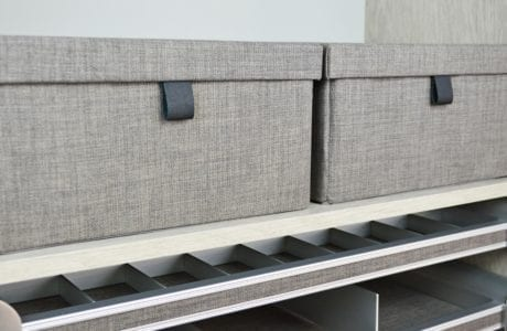 Close Up of Slate Grey Fabric Storage Boxes