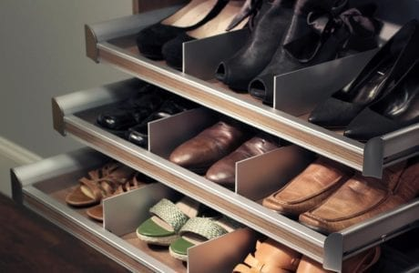 Close Up of Light Brown Pull Out Shoe Storage Drawers with Metal Accents