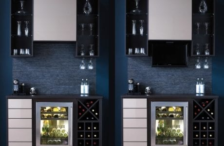 Stand Alone Black Bar with Shelving Cubbies X Design Wine Cubie Stainless Steal Fried Textured Black Backing and White Accent Drawers