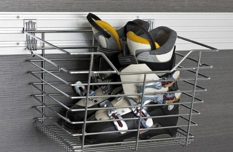 Rack Mounted Grey Metal Basket for Garage Storage