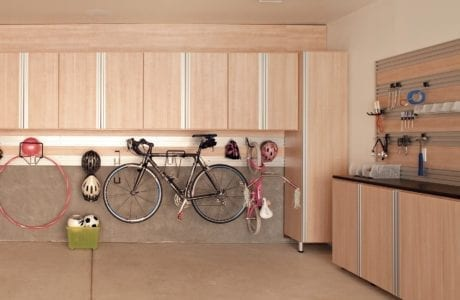 Light Wood With Metal Accents Garage Storage with Cabinets Tool Rack Closet Cabinets and Track Wall Storage Rack
