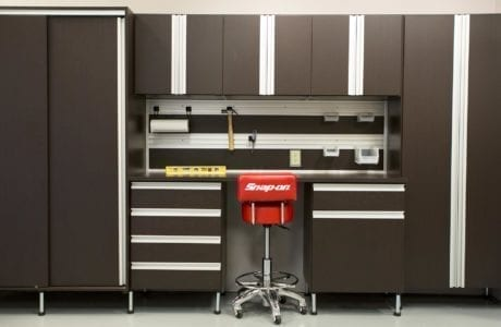 Dark Brown and Metal Accented Garage Storage with Cabinets Drawers Closet Cabinets Work Space and Tool Rack