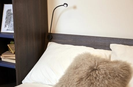 Close Up of Murphy Bed Built in Reading Light