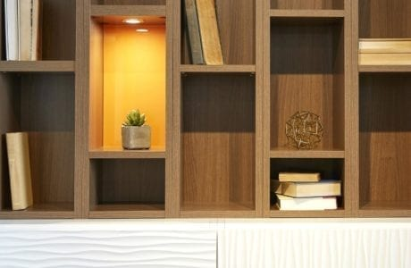 Light Brown Wood Grain Cubbie Shelving With Built in Lighting