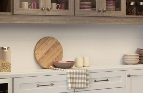 White and Light Grey Wood Grain Pantry Storage with Drawers Shelving Counter Space and Cabinets with Glass Doors