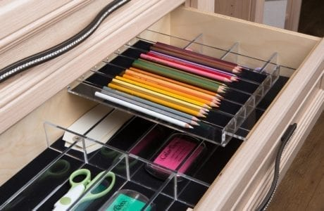 Close Up of Light Wood Drawer with Clear Office Supply Organizer