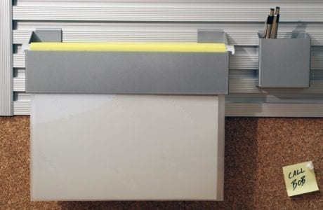 Close Up Image of Metal Office Supply Wall Rack Organizer and CorkBoard