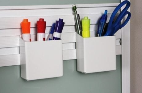 Close Up Image of Metal Office Supply Wall Rack Organizer