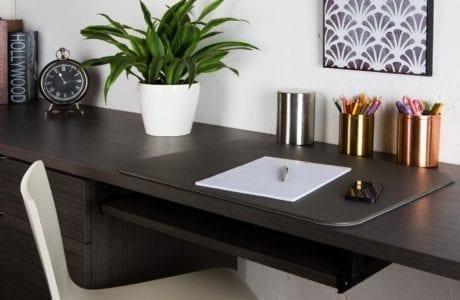 Dark Brown Built in Desk with Metal Office Supply Storage Tins