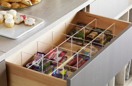 Grey and Light Wood Pantry Drawer with Clear Drawer Organizer Inserts