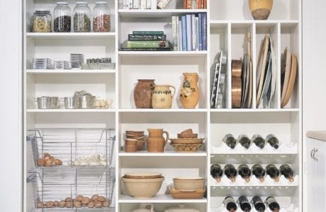 White Pantry Storage with Wine Racks Shelving and Metal Slide Out Baskets