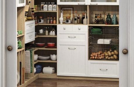 Light Wood Walk in Pantry with Shelving Metal Slide Out Baskets X Design Wine Cubbies and White Accent Drawers and Display Cabinets