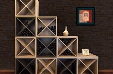 Light Wood Stand Alone Tiered Shelving With X Design Wine Storage Racks and Dark Wood Accent Cubbies