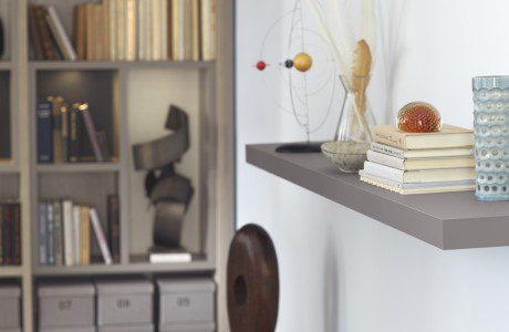 Close Up Image of Floating Grey Office Shelf