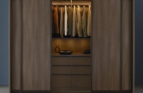 Stand Alone Dark Brown Wardrobe with Dresser Closet Rods and Dark Wood and Metal Sliding Doors