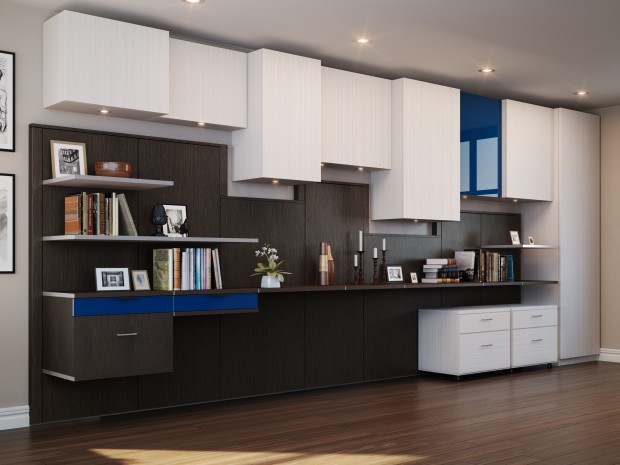 Brown and Grey Themed Office Storage With Blue Accents Includes Cabinets Drawers and Shelving
