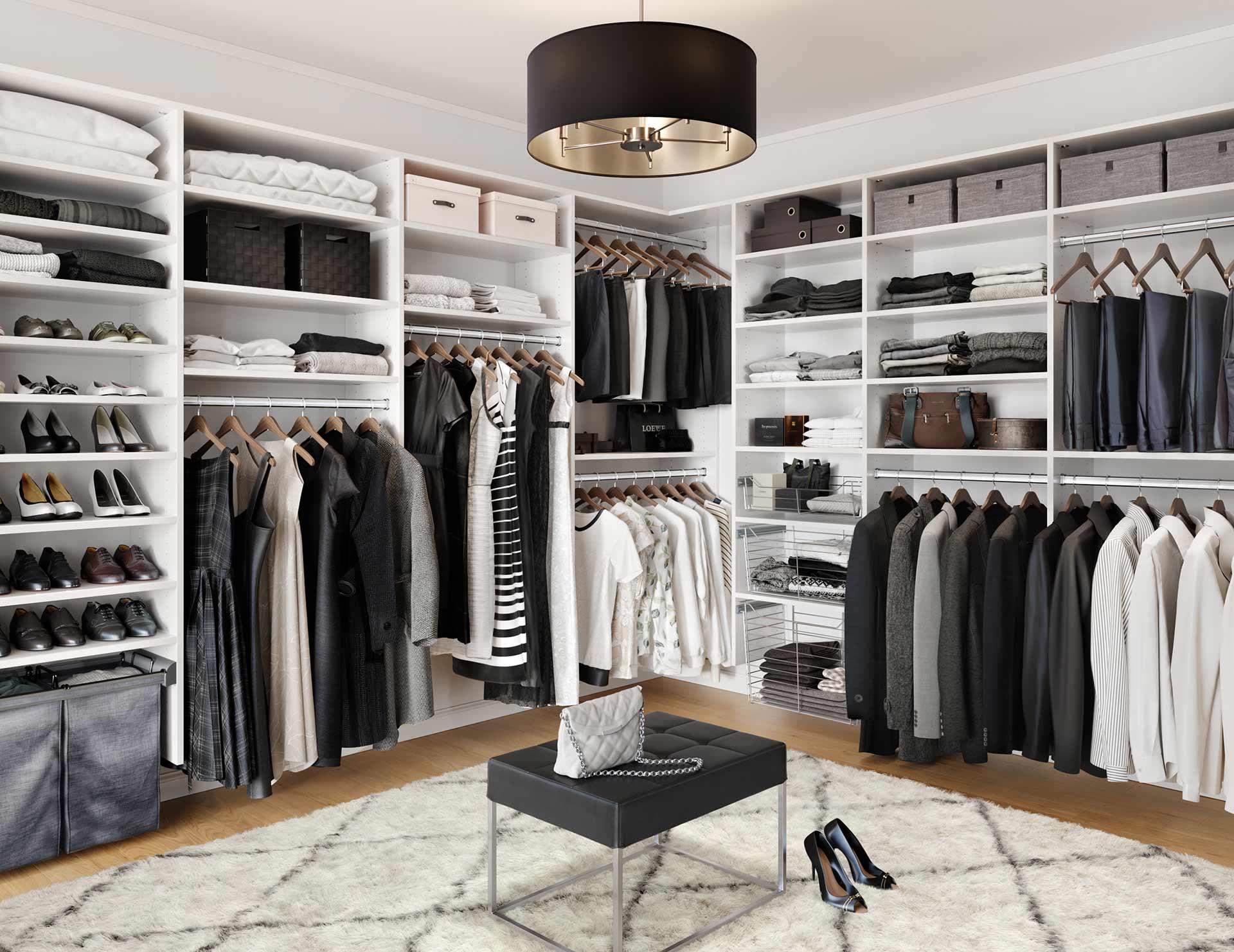 All White Custom Closets White Closet Shelving