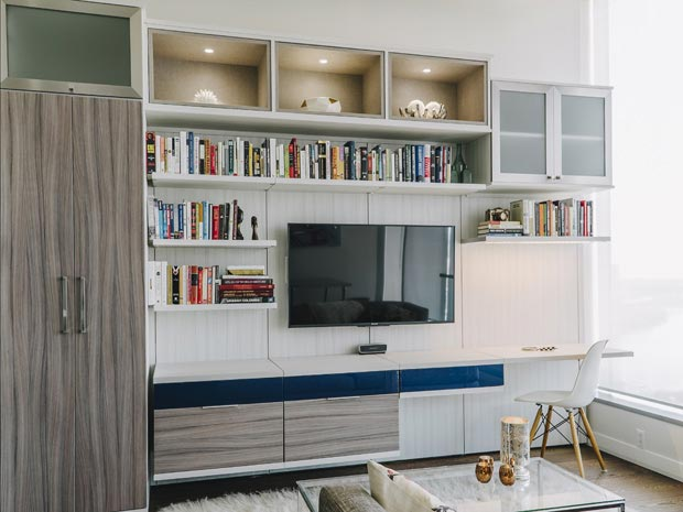 White Entertainment Console with Lighted Display Shelving Cabinets With Frosted Glass Doors Grey Wood Grain and High Gloss Blue Accents