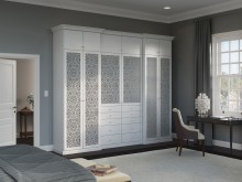 White Stand Alone Wardrobe with Drawers Cabinets and Mandala Accent Fronting