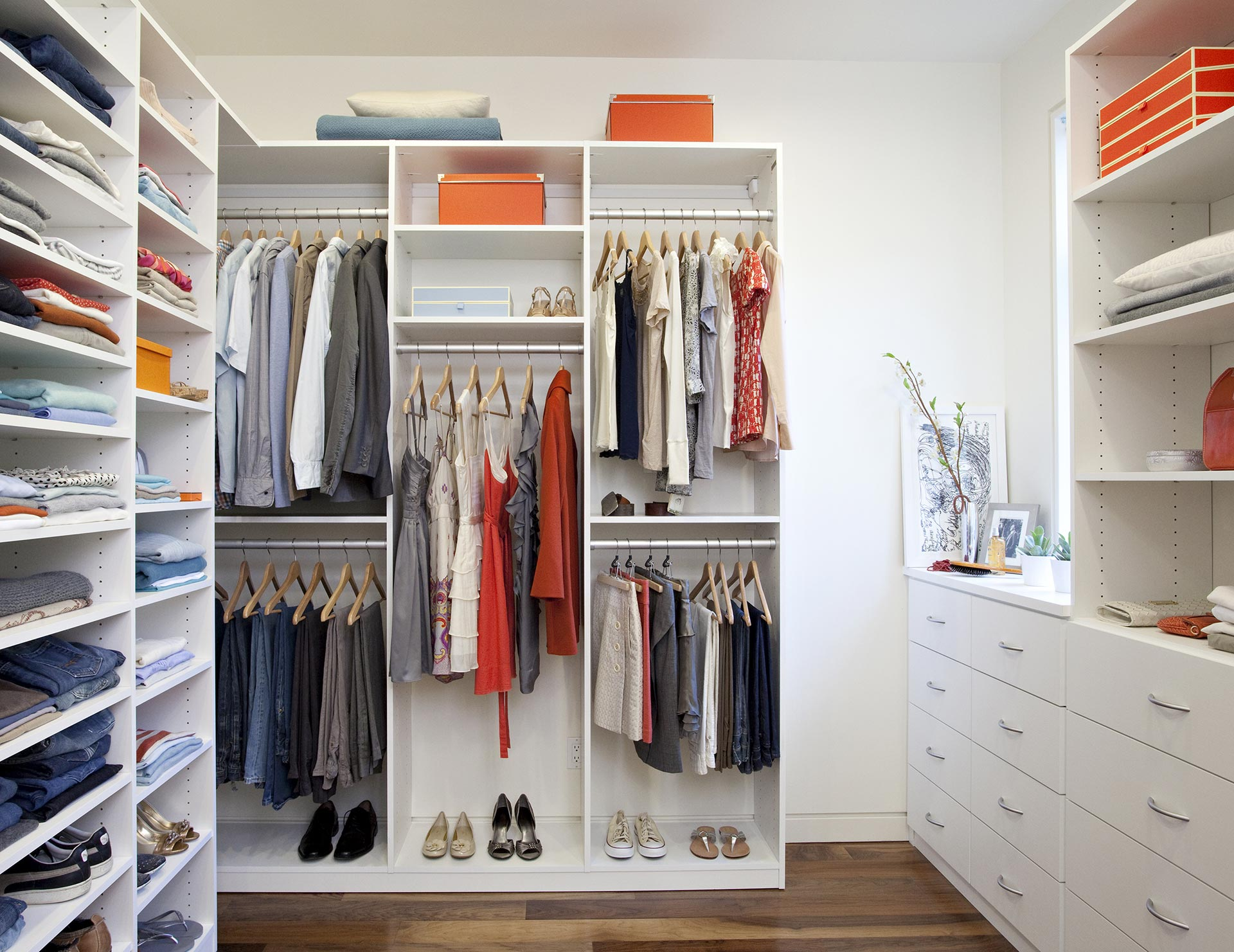 Walk in closet Shoe White Themed Walk In Closet With Drawers Shelving And Closet Rods California Closets Walk In Closets Designs Ideas By California Closets