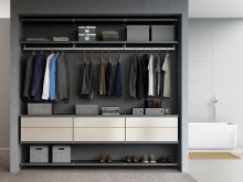 Dark Grey Reach in Closet with Shelving Closet Rods and Drawers