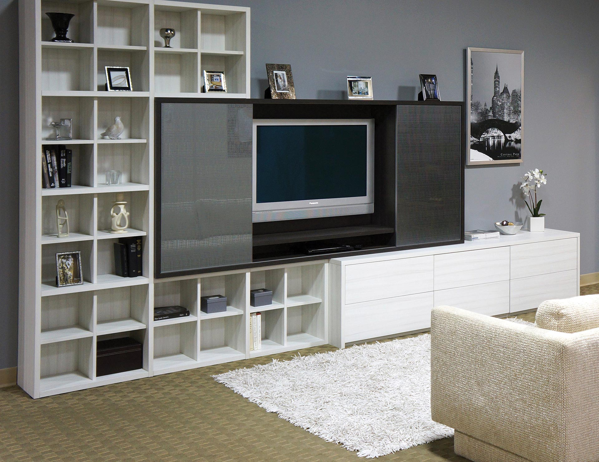 built in entertainment centers media cabinets california closets rh californiaclosets com entertainment center side shelves entertainment center shelves plans