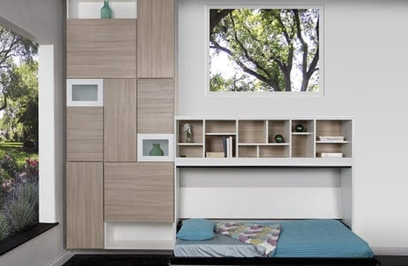 White and Grey Wall Storage with Cubbies and Side Tilt Murphy Wall Bed