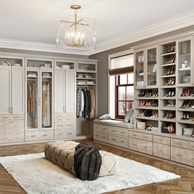 Light Grey Walk in Closet with Shelving Drawers Shoe Racks and Display Cabinets