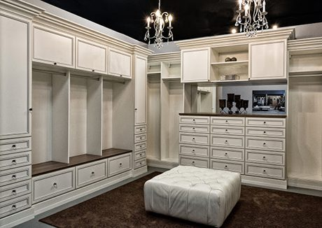 California Closets San Diego Interior walk in closet showcase in white finish