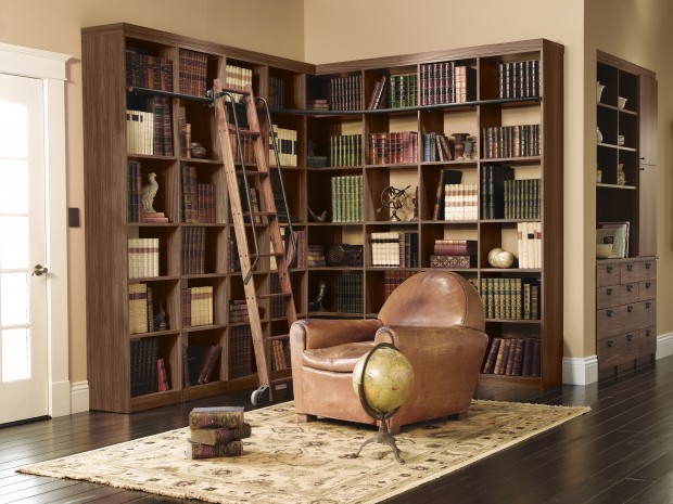L Shaped Dark Brown Library Shelving with Built in Rolling Ladder