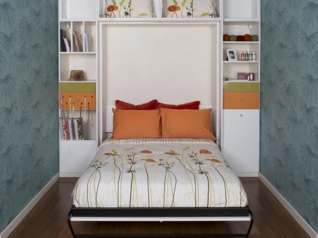 Built in Murphy Bed Nook with White Shelving Cubbies Cabinets and Drawers with Craft Ribbon Pull Through Holes