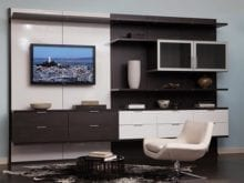 Media center in virtuoso finish with gloss white accents and dark brown venetian wood finish