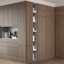 California Closets Built in Wardrobe in Roman Walnut finish with linen storage
