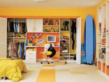 Yellow and Orange Backed Kids Closet With White Shelving Closet Rods Baskets and Built in Desk