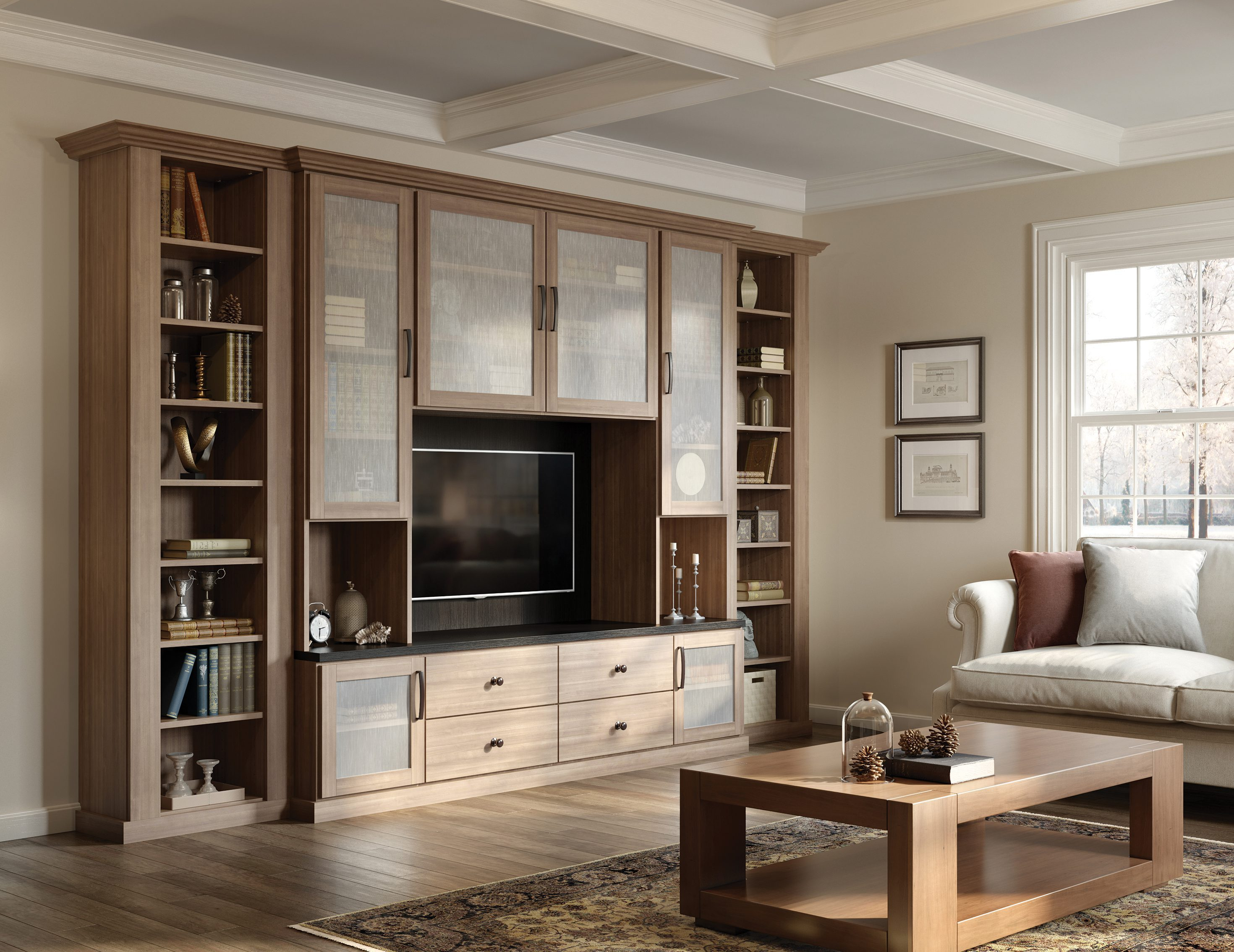 Nice Light Brown Wood Grain Entertainment Center Shelving Drawers And Cabinets  With Frosted Glass Doors