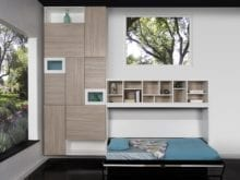 Grey Living Space Storage with Cubbies Light Brown Cabinets White Display Shelves and a Murphy Bed